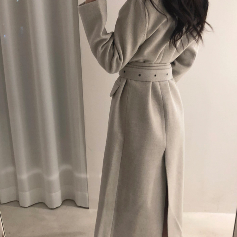 High Qulity Woman Coats Winter Wool Long With Belt Office Lady Fashion Lace Up Outerwear
