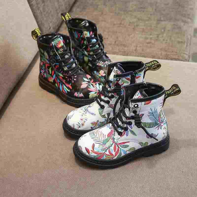 เด็กฤดูหนาวรองเท้าแฟชั่น Martin Boots หญิง Botas Elegant ดอกไม้พิมพ์รองเท้าหนังเด็กรองเท้าข้อเท้ายาง Soled