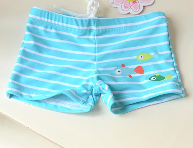 Light Aqua Blue Stripes Three Small Fish CHILDREN'S Swimming Trunks Cute Boy Infants Small Children Swimming AussieBum