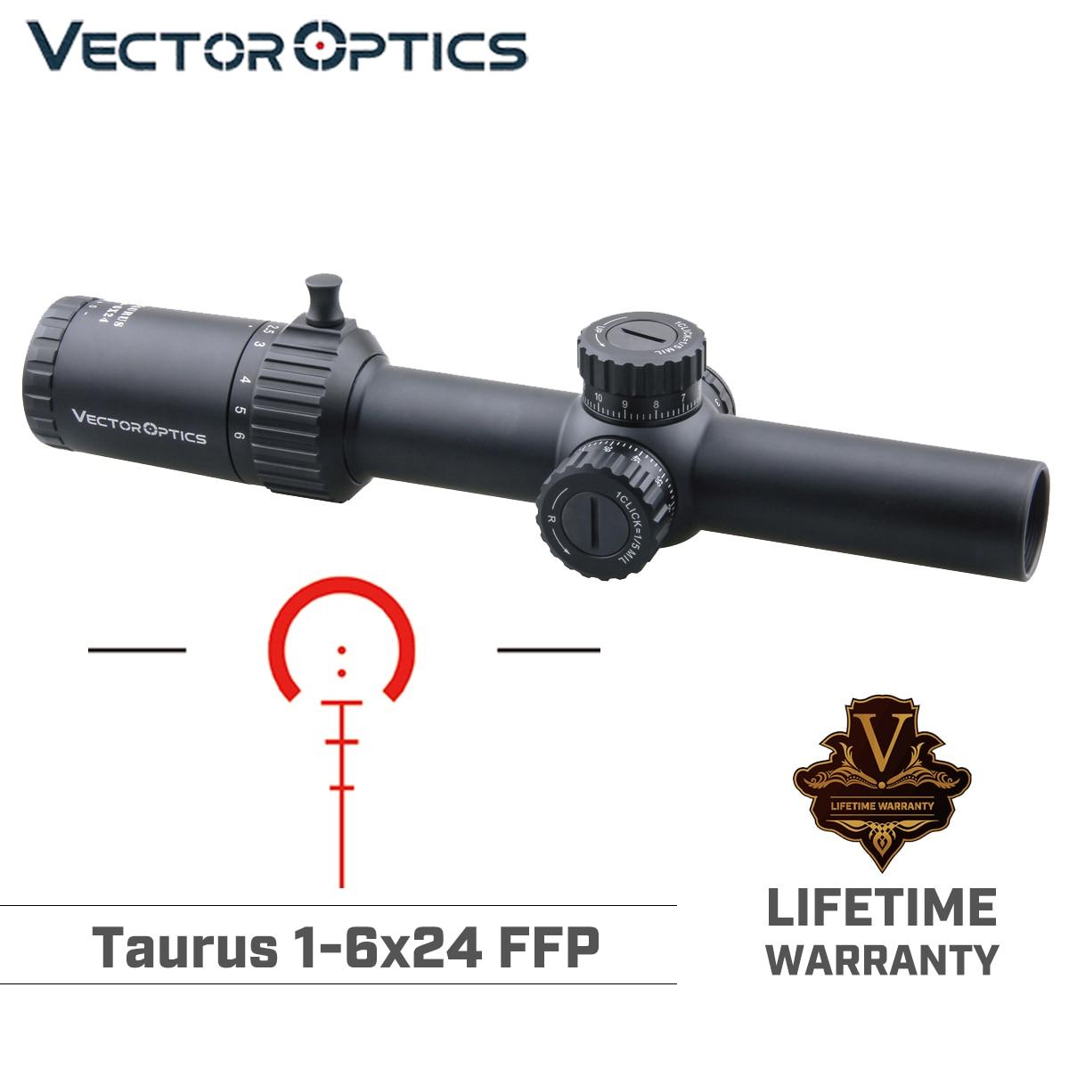 Vector Optics Taurus 1-6x24 FFP Hunting Riflescope Tactical Optical Scope 1/5 MIL 6 Levels Red BDC For CQB AR .223 .308win Dawn
