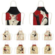 Льняные Модные женские Кухонные фартуки с принтом, унисекс, вечерние, для приготовления пищи, нагрудник, Забавный фартук для чистки, WQC293