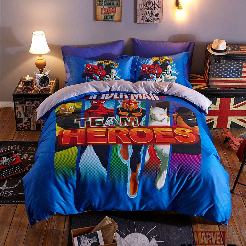 Disney Team Heroes Spiderman Iron Man Bedding Set For Kids Duvet Cover Pillowcases Bedroom Decor Bedlinen For Children Boys Gift
