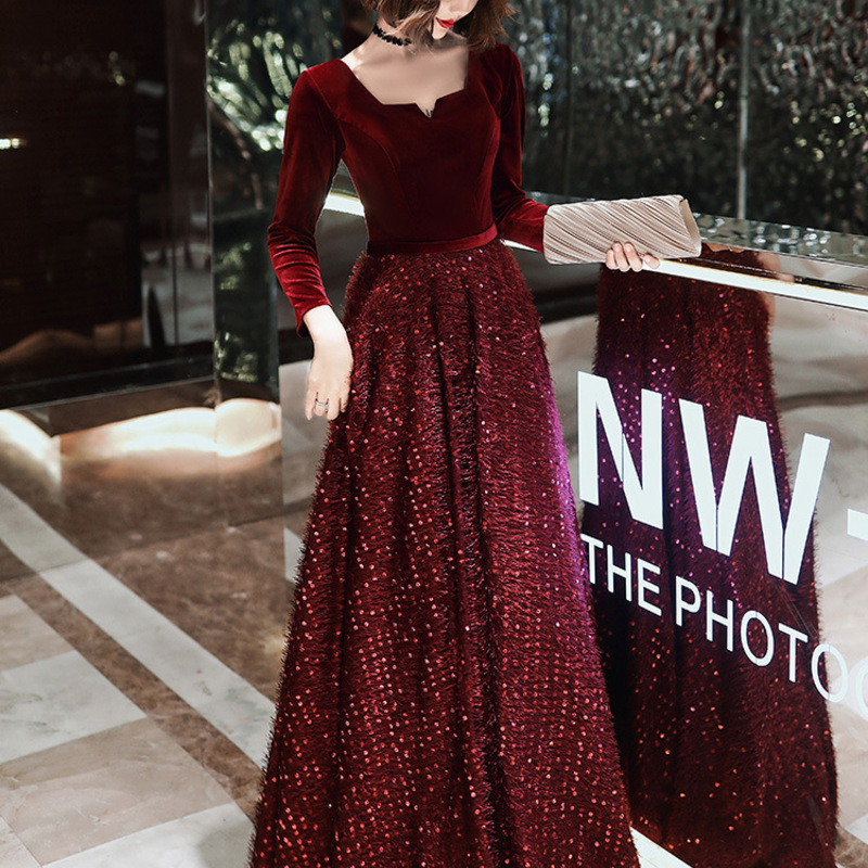 Big Yards Toast Dress The Bride, 2020 New Autumn And Winter Long Fat Mm Wine Red Recalls Show Thin Female Wedding Gowns