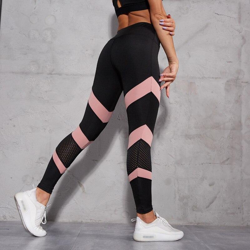 Women Leggings Fashion Mesh Patchwork  Fitness Leggings Feminina Hollow Out High Wasit Push Up Legins Ankle Length Leggins