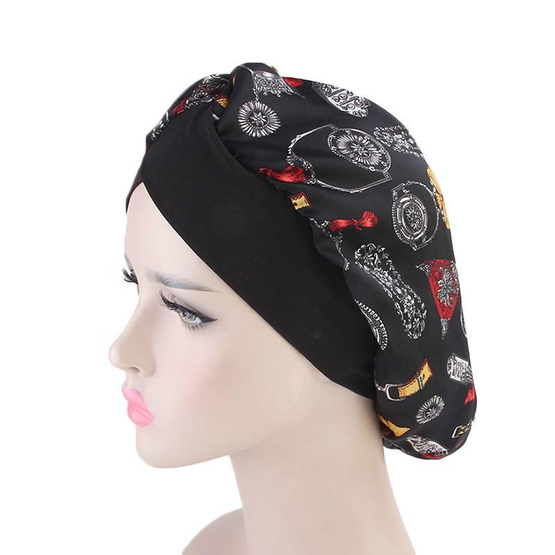 Women Silk-print Turban Hat Long Hair Hat Night Sleep Cap Lady Hair Care Bonnet Headwrap Muslim Hijab Hat Indian Hat Wholesale