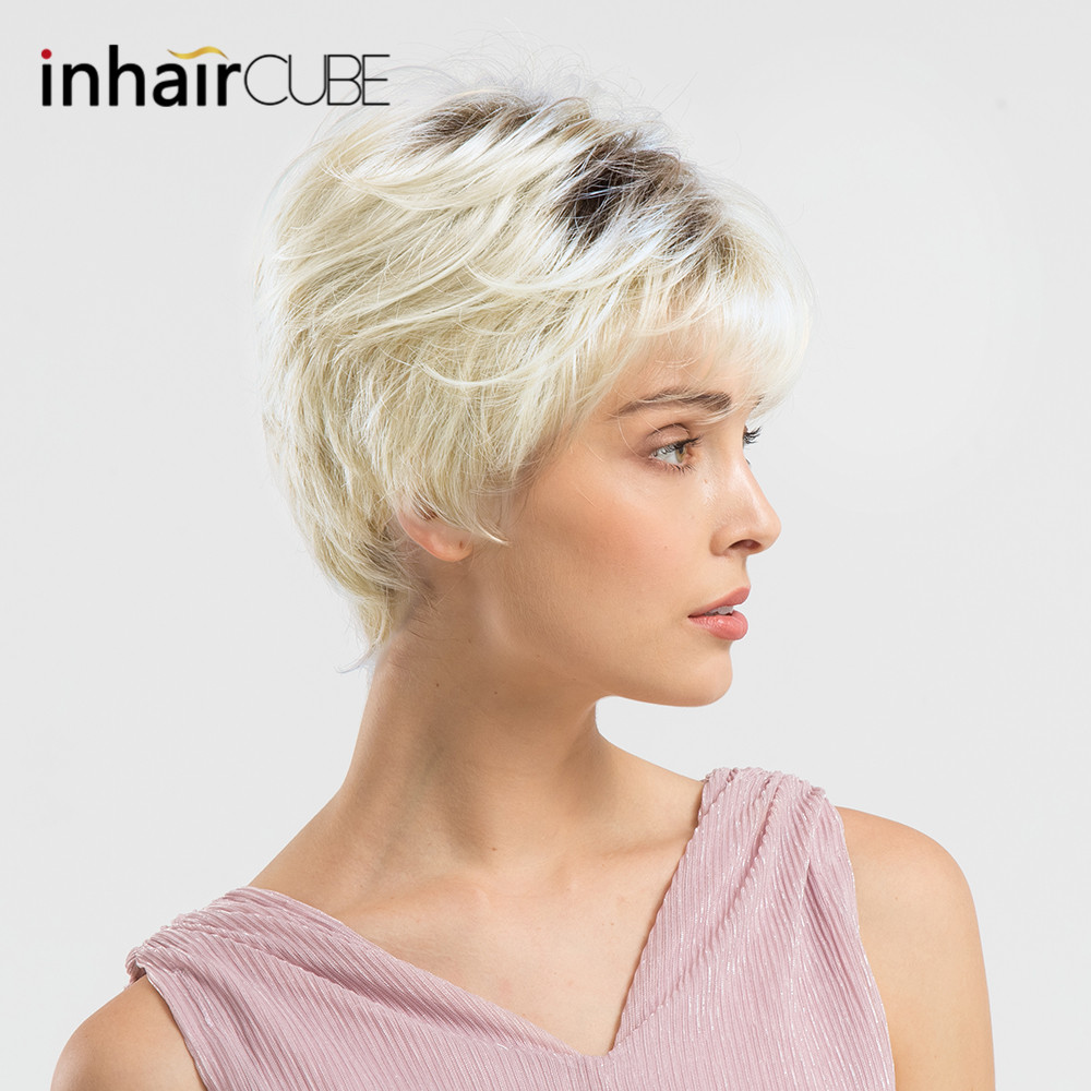 INHAIR CUBE 6 Inches Synthetic Blend Hair Natural Wave Short Wigs for Women Fluffy Ombre Blond Free Wig Cap