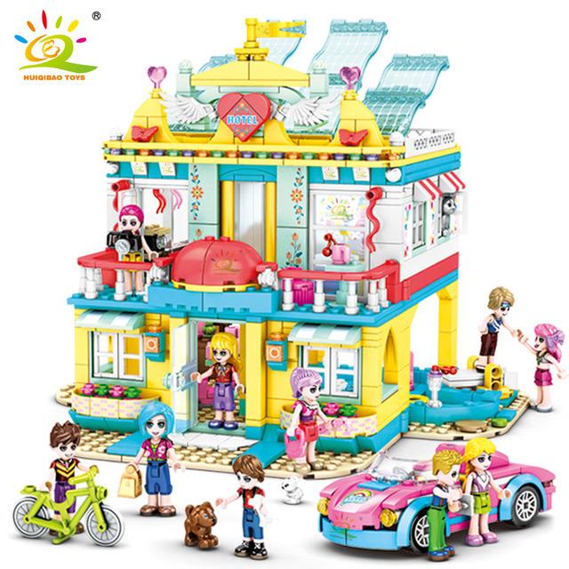 HUIQIBAO 1126pcs Girls heartlake hotel Beach villa house Building Blocks Friend city architecture car Bricks set Children Toys