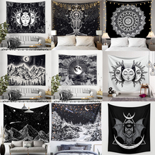 Psychedelic Tapestry Wall-Carpets Dorm-Decor Celestial Sun-Moon Black White