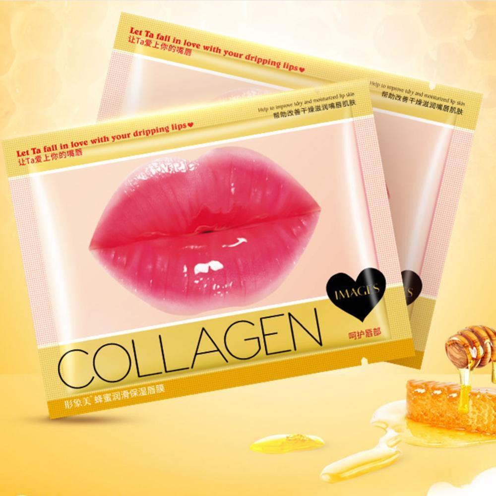 Crystal Collagen Lip Plumper Mask Honey Lip Mask Pads Enhancer Patch Care Aging Anti Gel Lips Scrub Wrinkle Moisture H6O0 1