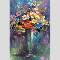 R&GART 100% Handpainted Abstract Flowers Oil Painting On Canvas Art Gift Home Decor Living Room Wall Art Frameless Picture
