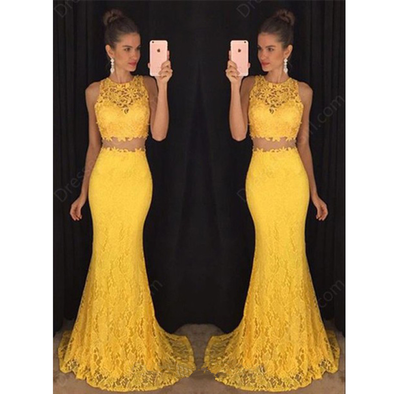 Two Pieces Gown Long Evening Dresses Mermaid Vestidos De Festa 2018 Lace Robe De Soiree O-Neck Yellow Formal Evening Party Dress
