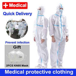 Disposable Medical Protective Clothing Medical Gowns Dustproof Antivirus Coverall protective equipment overalls Isolation Suit