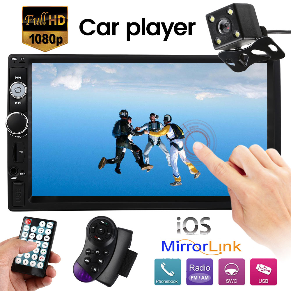 <font><b>7010B</b></font> <font><b>2</b></font> <font><b>Din</b></font> Car MP4 MP5 Player 7 inch HD Multimedia Camera Radio Universal Autoradio Bluetooth Audio Mirror Rear View Camera DVR image