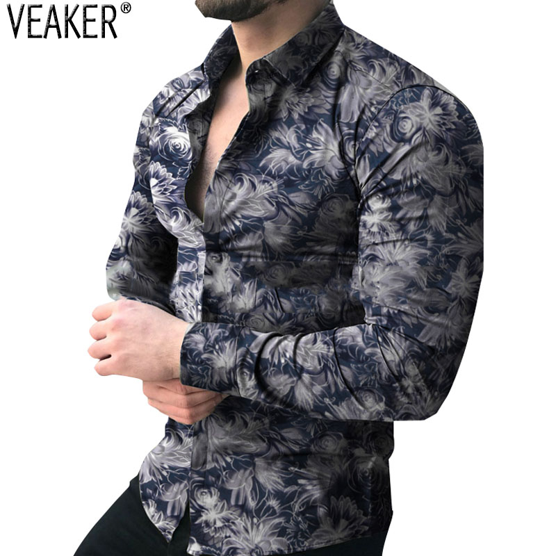 2019 Autumn New Men's Long Sleeve Floral Shirts Male Slim Fit Flower Printed Shirts Tops Men Casual Print Shirt M-3XL