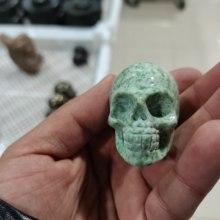 1PCS Skull Statue Natural Stone Carved Decoration Healing Crystal Reiki Gem Figurine Spiritual Wicca Energy Supplies Gemstone Gi