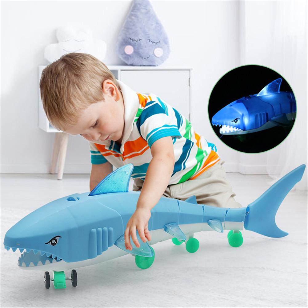 2 Colors Leash Shark Glow Toy Kids Electric Light Music LED Toys With Traction Rope Children Electronic Pet Interactive Toys