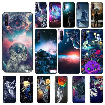 YNDFCNB Trippy Art aesthetic Space astronaut Soft Black Phone Case for Huawei Y5 II Y6 II Y5 Y6 Y7 Prime Y7Plus Y9 2018 2019 image