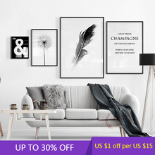 Black And White Canvas Painting Life Quote Nordic Prints Dandelion Feather Wall Art Decor Pictures For Aesthetic Room Decor