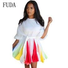 FUDA New Multi-color Mosaic Rainbow Gradient Dress Long Sleeve O-neck Elegant Short Women Hollow Out Vintage Party Dresses