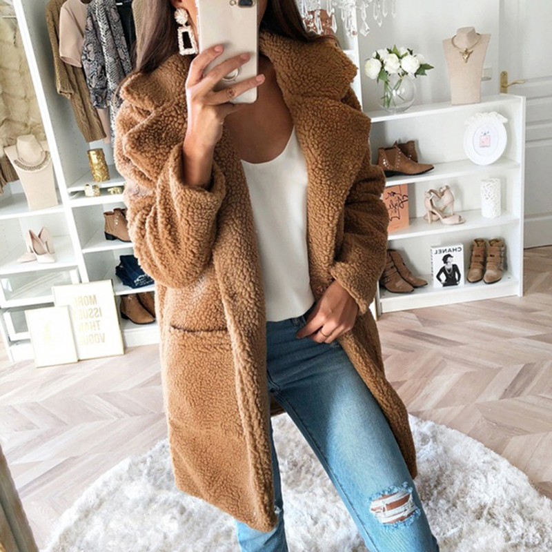 WENYUJH Coat Women Jacket Teddy Faux-Fur Female Winter Fashion Outwear Warm Autumn Long title=