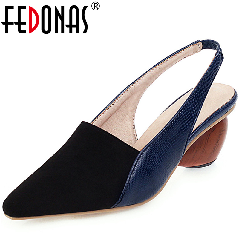 FEDONAS Women Mules Casual Shoes Spring Summer Pointed Toe Strange Heels Shallow Shoes Concise Fashion Mature Shoes Woman