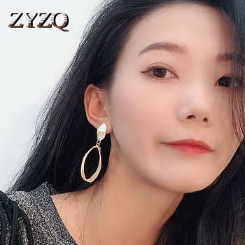 ZYZQ Trendy Punk Stylish Drop Earrings For Women Luxury Golden Color With Big Hoop Circle Pendant Perfet Gift For Women Hot Sale image