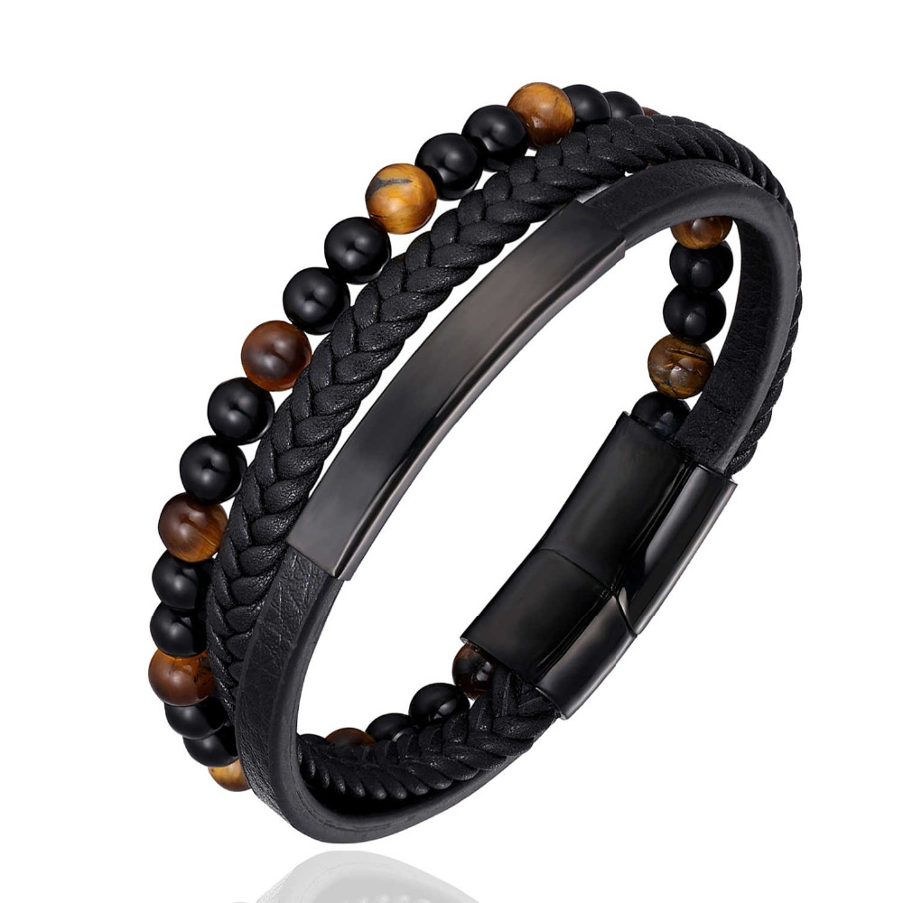 New Punk Style Design Genuine Leather Bracelet For Men Steel Magnetic Button Birthday Gift Natural Stone Beaded Bracelets