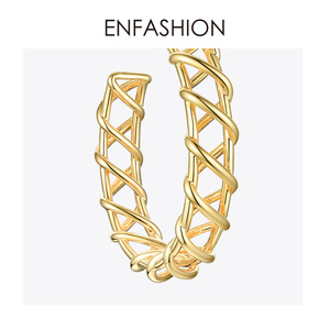 Image 5 - ENFASHION creux boucles doreilles pour femmes couleur or armure grand cercle cerceaux boucles doreilles mode bijoux en gros Pendientes E191138