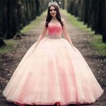 Pink Quinceanera Dresses Princess Cinderella With 3D Flower Off The Shoulder Ele