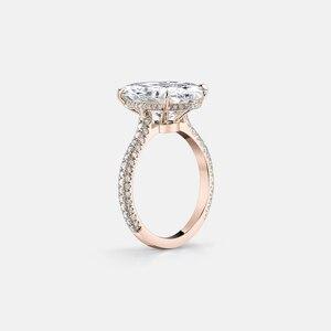 Image 5 - יוקרה 925 כסף סטרלינג טבעת רוז זהב צבע 5 קרט גדול סגלגל לחתוך SONA טבעת נשים חתונת אירוסין יום נישואים zilvere טבעת