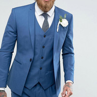 Blue Wedding Groom Tuxedos Slim Fit Men Suits for Prom Smoking Man Costumes Notched Lapel 3 Piece Man Set Jacket Vest with Pants