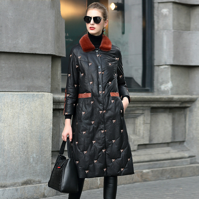 Mink Fur Collar Female Jacket Sheepskin Down Coat Real Genuine Leather Jacket Winter Women Clothes 2020 Korean Vintage Tops 4024