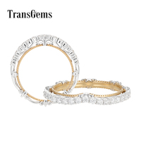 Transgems 14K White Yellow Gold Two Tone F Colorless VVS Moissanite Wedding Band for Women Gold Fine Jewelry Fashion Ring