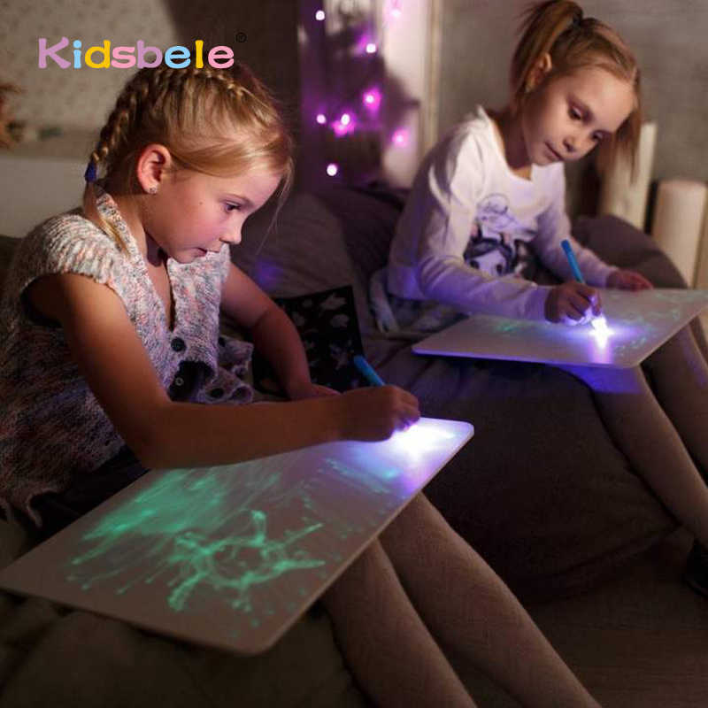 A3 ビッグライト発光製図板キッズおもちゃタブレットで描画ダークマジックライト楽しい蛍光ペン子供教育玩具