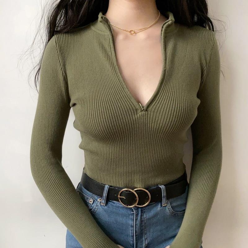 Women Hip Zip Ribbed Knit Jumper Skinny Crop Knit Top