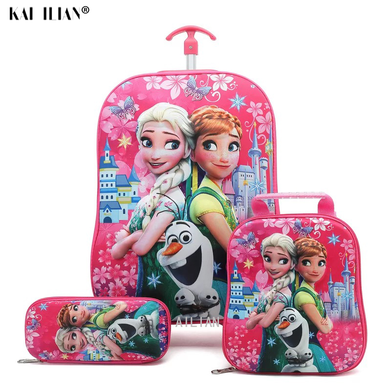 Kids Travel Suitcase On Wheels 3D Anime Stereo Student Trolley Case Set Cute Boy Girl Cartoon Lunch Bag Pencil Box Children Gift