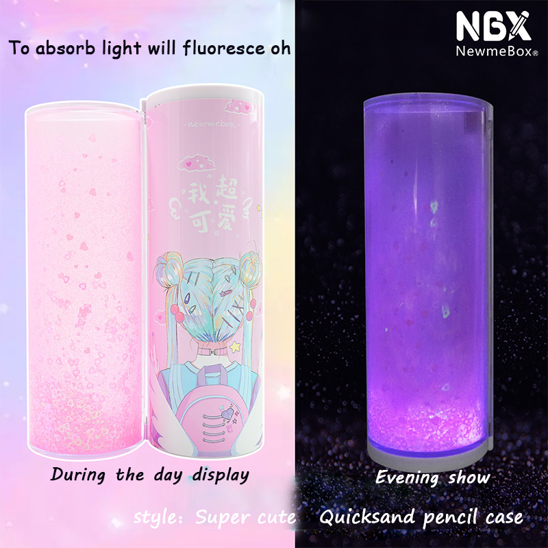 NBX New Multifunctional Can Shine Luminous Quicksand Pencil Cases Cool Cute Students To Use Creative Pen Box With Calculator