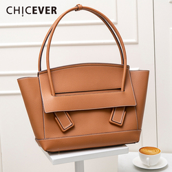CHICEVER Korean PU Leather Patchwork Women's Bag Oversized Loose Big Clothing Accessories Female Bags 2020 Spring Autumn Fashion