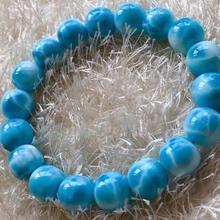 Najwyższa jakość naturalny niebieski Larimar kamień wzór woda okrągły bransoletka z koralików 11mm kobiety mężczyzna kształt beczki prezent AAAAA