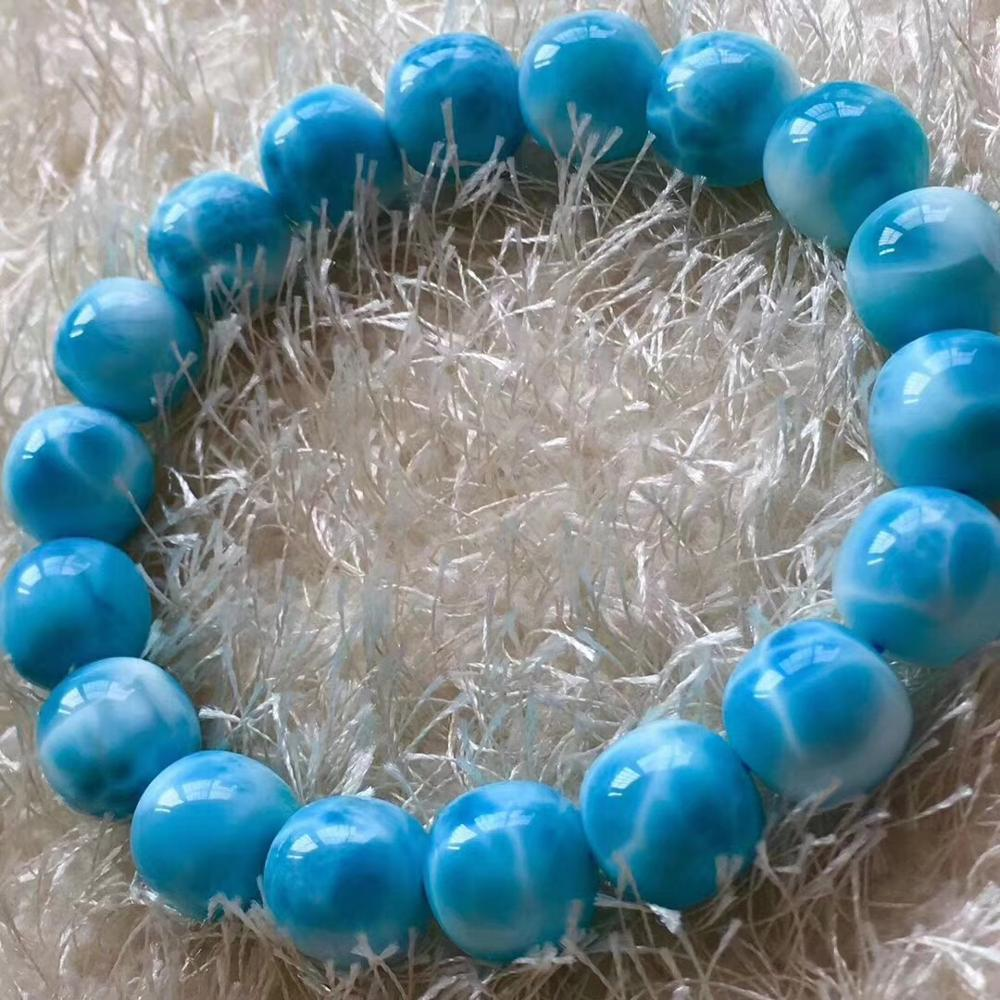Natural Genuine Blue Larimar Gemstone Big Round Crystal Beads Bracelet 11mm