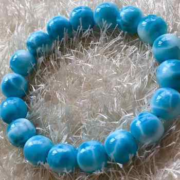 Top Quality Natural Blue Larimar Gemstone Water Pattern Round Beads Bracelet 11mm Women Man Barrel Shape Gift AAAAA - DISCOUNT ITEM  24% OFF All Category
