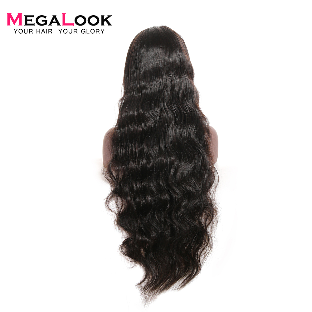 Full Lace Human Hair Wig Brazilian Body Wave Lace Front Wig 30 Inch Full Lace Wig With Baby Hair Natural Color Remy Megalook