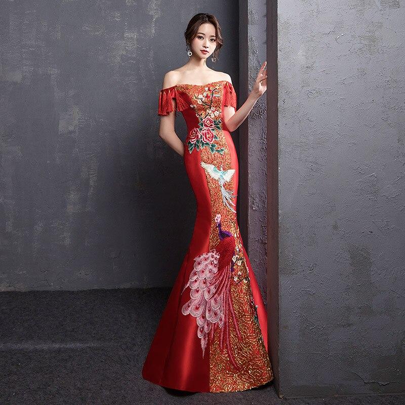 Red Royal Embroidery Phoenix Cheongsam Mermaid Wedding Bridal Cheongsam Dress Chinese Evening Dress Suknia Wieczorowa