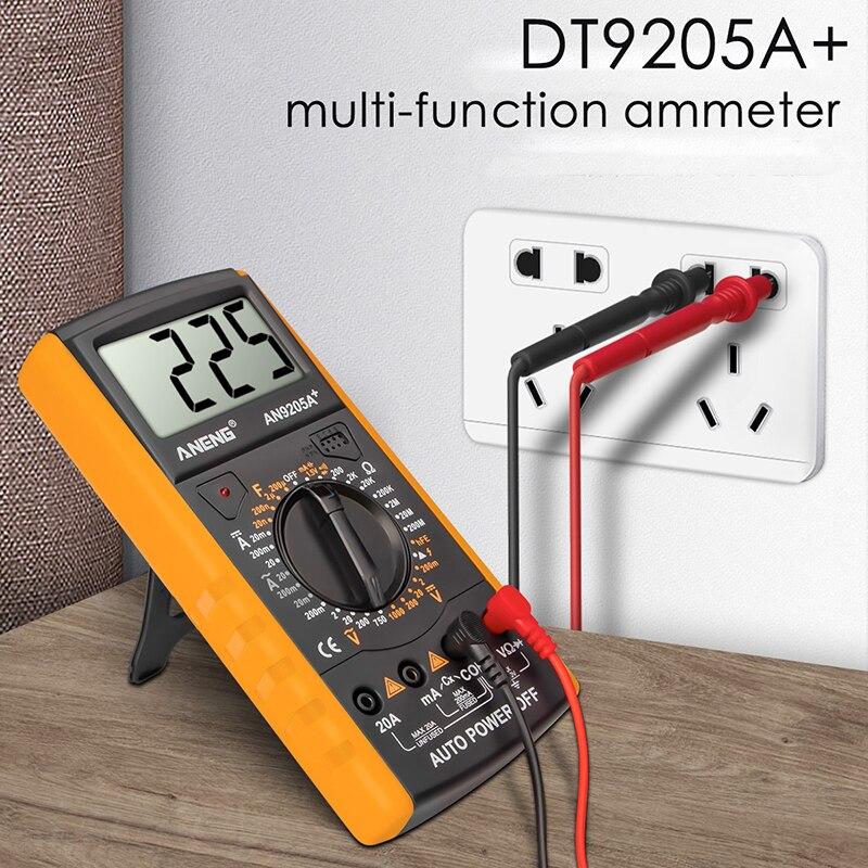 Dt9205a + multímetro digital ac/dc profesional transistor tester esr ncv medidor de teste elétrico analógico gama automóvel multimetro 1 pces