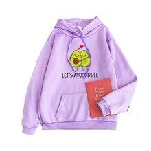 Women Harakuju Hoodies Sweatshirts Cartoon Avocado Print Fun