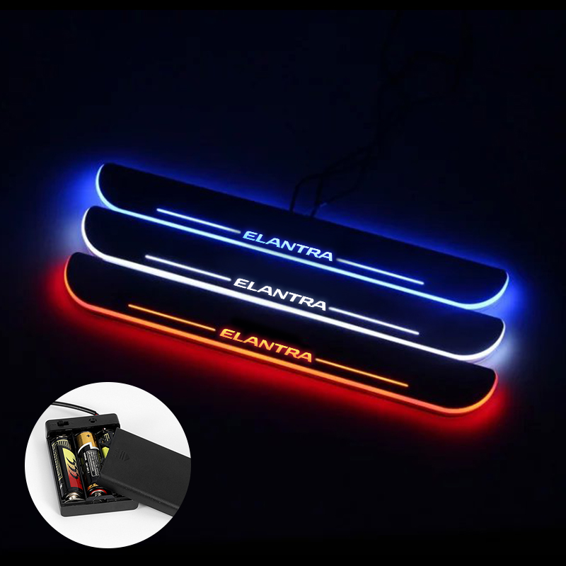 LED Door Sill For <font><b>Hyundai</b></font> <font><b>Elantra</b></font> 2015 2016 2017 2018 Streamed Light Scuff Plate Acrylic <font><b>Battery</b></font> <font><b>Car</b></font> Door Sill Accessories image