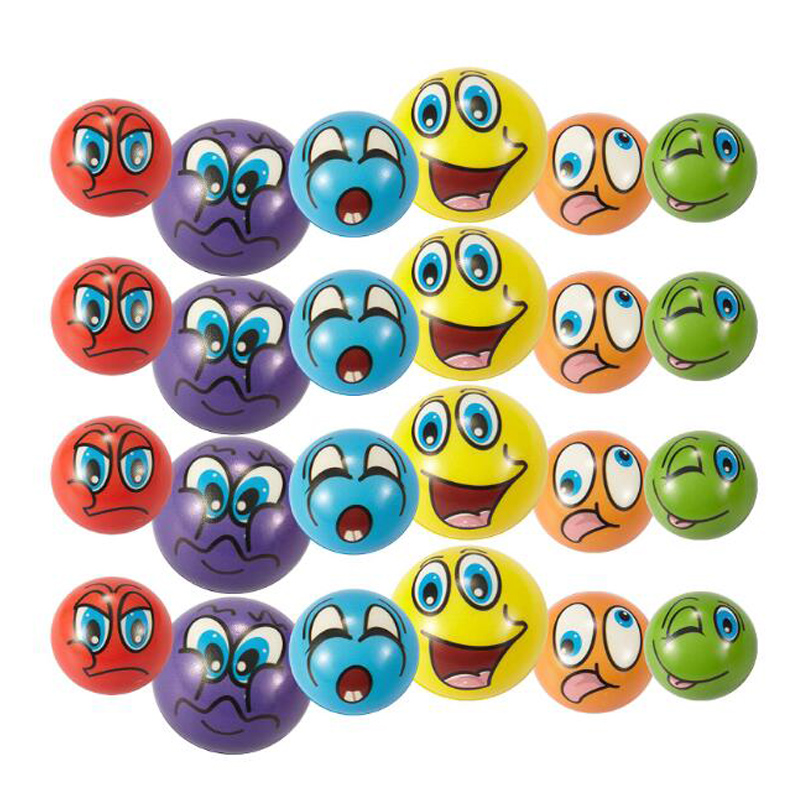6Pcs Kids PU Foam Ball Squeeze Toy Stress Relief Softball Cartoon Ghost Smiley Face Sensory Toys For Children