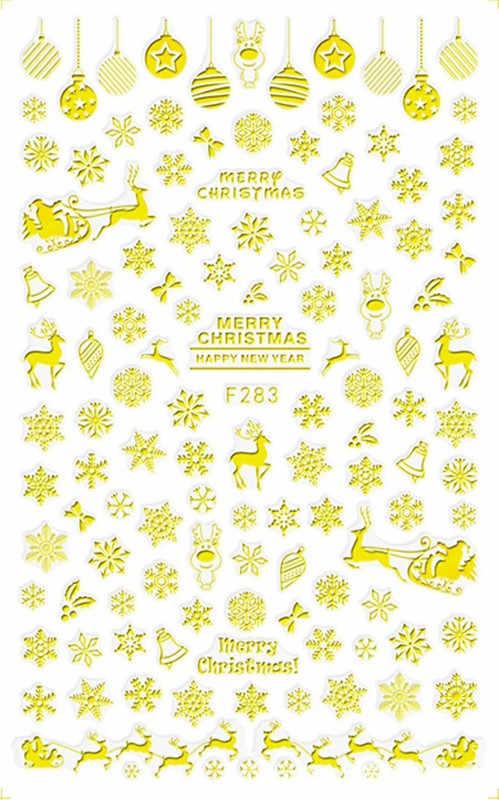 1pc クリスマス雪の結晶ステッカー雪フレーククリスマスラップ雪だるま冬ネイルアートの装飾マニキュアツールスライダー