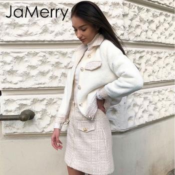 JaMerry Vintage dwuczęściowy tweed faux fur zestawy dla kobiet jesienno-zimowa spódnica garnitur zestawy Patchwork pojedyncze piersi biuro damska odzież tanie i dobre opinie BerryGo REGULAR Pełna Krótki Powyżej kolana Mini NONE S19OW0746 S19OW0687 S19SK0628 Skręcić w dół kołnierz Przycisk fly