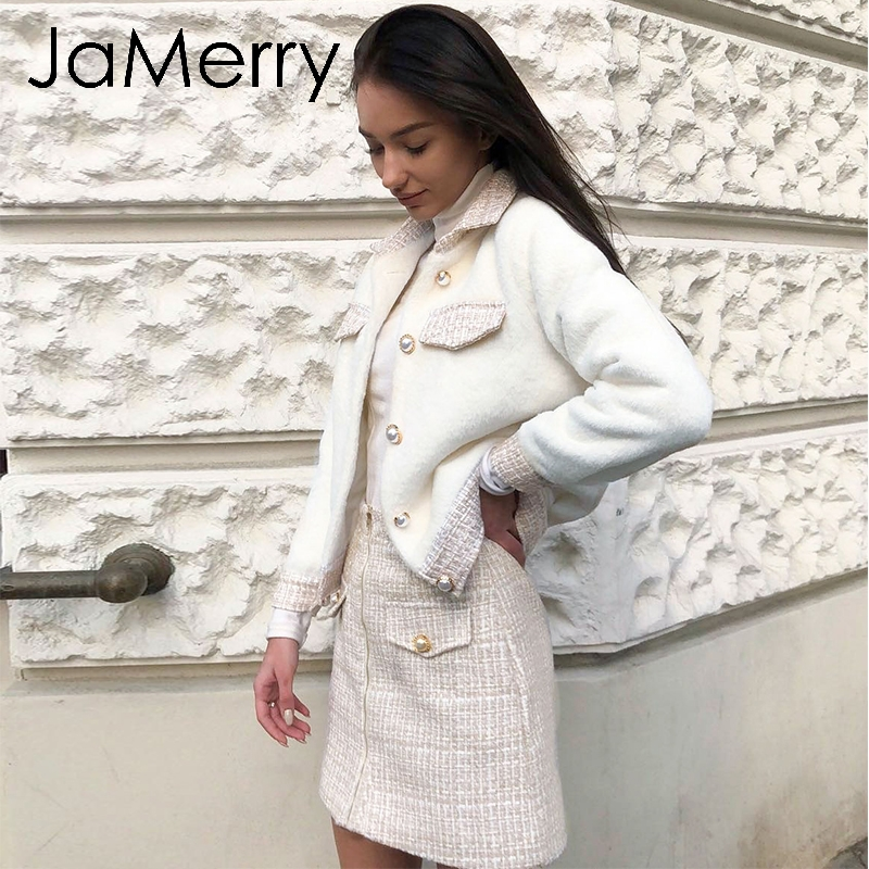 JaMerry Vintage Two Piece Tweed Faux Fur Women Sets Autumn Winter Skirt Suit Sets Patchwork Single Breasted Office Lady Suits